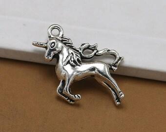 25pcs 24x9mm Antique Silver Unicorn  Charms Pendants-horse Charms
