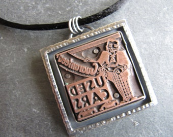 Used Cars Letterpress Necklace in Sterling Silver