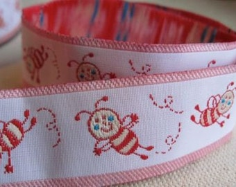 PINK Tumbling Bees Jacquard Ribbon Trim