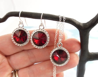 Ruby Red & Silver Necklace and Earring Set - Deep red Swarovski crystal rivoli on sterling chain and earwires - free shipping USA