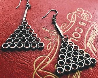 Silver drop dangle earrings   triangle metal earrings