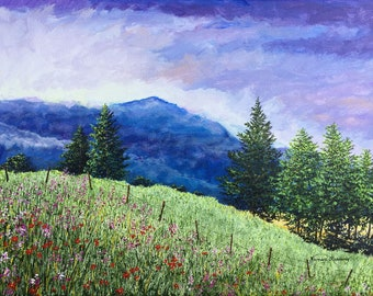 Mountain Painting - Country Print - Pine Trees - Nature Art - Fine Art Print - Landscape Painting - Hill Painting - Matted Print