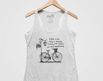 Bicycle Women Tank Top Triblend Racerback Hand Screen Print