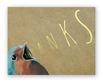 Yelling Set of 12 Thank You Cards - Bird - Thanks - Stationery - Gift - Mincing Mockingbird