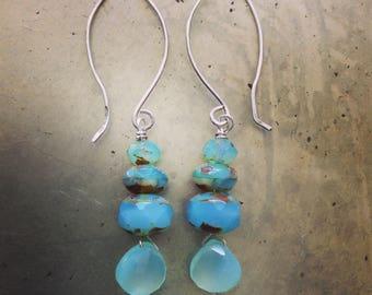 Aqua Ocean Blue Gemstone Sterling Silver Earrings