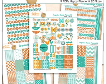 Planner Kit! Turquoise Orange Printable Stickers / 5 Pdf Clip Art, Washi, HP & EC Boxes, 180 Icons/  Owls, Birds, Cat