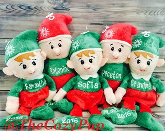 Christmas Elf, Baby's First Christmas, Plush Christmas Elf, Personalized Elf, Personalized Plush Elves, Monogrammed Elf