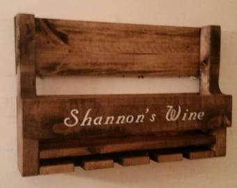 Personalized Rustic Pallet Wine Rack // Wedding Gift //Family Name Wine Rack // Country Decor // Cabin Decor // Unique Gift Idea