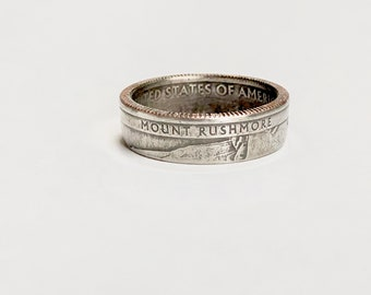 Mount Rushmore - National Park - South Dakota - Coin Ring - Coin Jewelry - Quarter Ring - Gift - State - Wedding Ring - Husband - Wife
