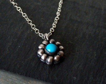 Dainty turquoise necklace / boho flower necklace / gemstone necklace / December birthstone jewelry / turquoise jewelry / oxidized silver