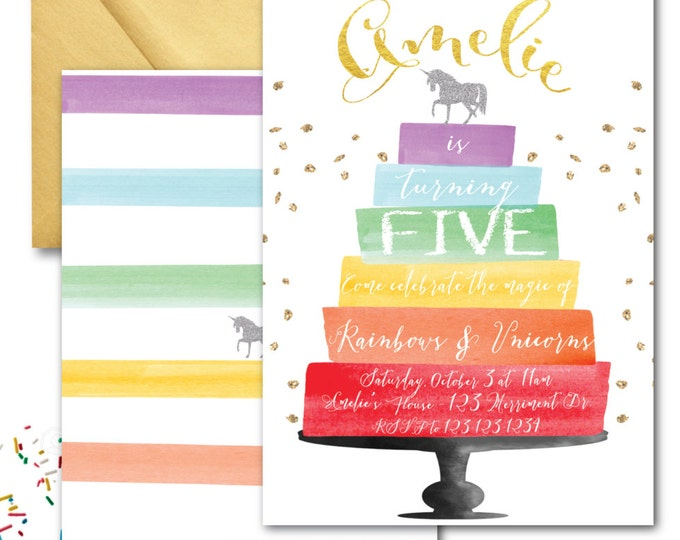 Rainbows and Unicorns Invitation // Painting Party // Cake Invitation // Watercolor // Gold Glitter // HAMPTONS COLLECTION