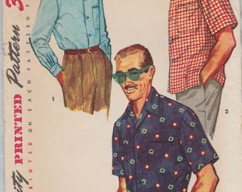 Simplicity 4981 / Vintage 50s Mens Sewing Pattern / Mans Shirt / Size Small / Chest 34 to 36