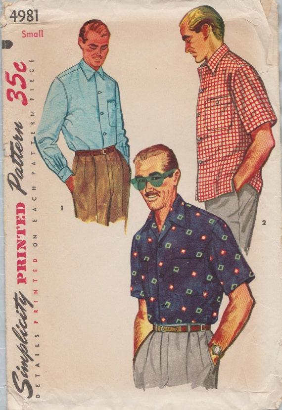 Einfachheit 4981 / Vintage 50er Jahre Herren Schnittmuster /