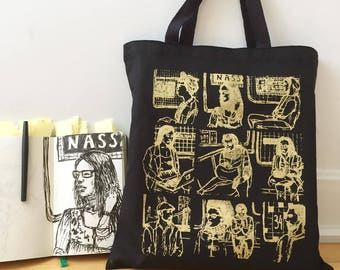 Tote Bag //  All People Print // Gold print on black // NYC Underground Portrait Series