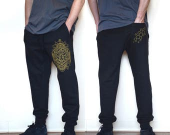 Gold Honeybee Joggers - Jogger Sweatpants - Sacred Geometry Joggers - Festival Sweatpants - Mens Jogger Pants - Harem pants