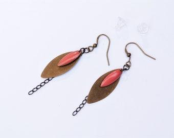 Earrings pink almond shaped bronze