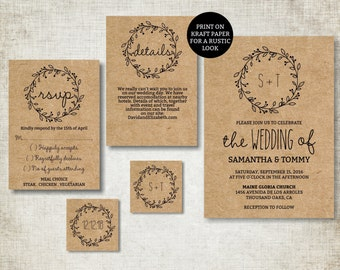 Wedding invitation template, Classic Wreath Wedding Invite printable, Digital PDF, diy simple wedding invitations, editable text
