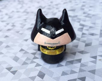OOAK DC Comics Inspired Justice League Batman - Mini Character Pop Culture 'Shroom - Handpainted Polymer Clay Sculpture