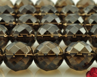 64 faces''---32 pcs of A Grade--Natural Smoky Quartz faceted round beads in 12mm (0367#)