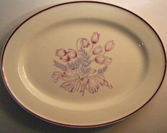 Edwin M. Knowles - American Tradition Series - Governor's Lady Pattern Pink Blue Gray Crocus Tulip - Large Oval Serving Platter - 1930s