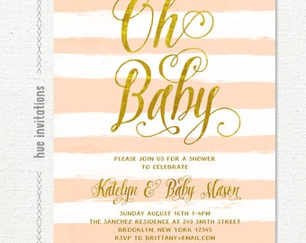 baby shower invitation girl, rustic baby shower coral and gold, stripes baby girl shower digital invitations, printable oh baby invite 220