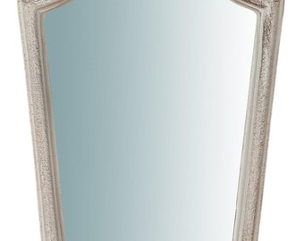 Wooden wall mirror in antiqued white finish L20XPR2XH39cm