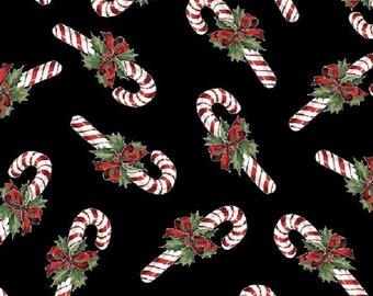 Candy Canes & Holly-Black B/G-Hoffman Fabrics-BTY
