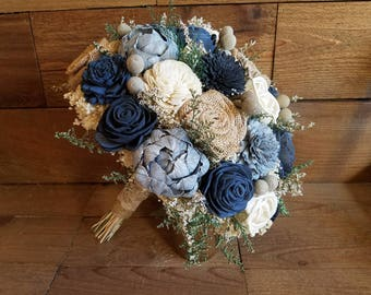 Custom Steel, Dusty Blue, Charcoal Blue Grey Sola Wood Flower Burlap Roses and dried Flowers Bridal Bridesmaids Style 78