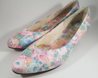 Bridal Wedding Shoes Floral Shoes |  Selby Size 7 | Vintage Wedding Flower Flats | Low Heel Shoes | Rainbow Shoes | Unique Spring Shoes