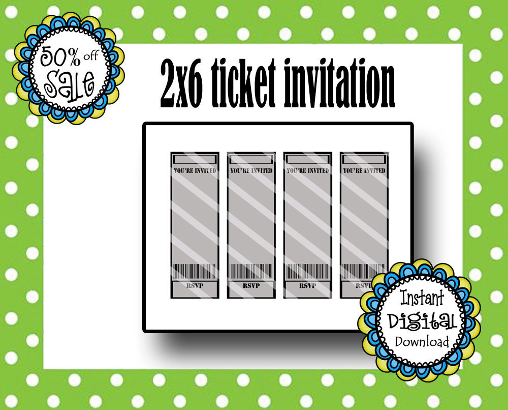 2X6 Ticket Invitation Template Birthday Party Movie Ticket