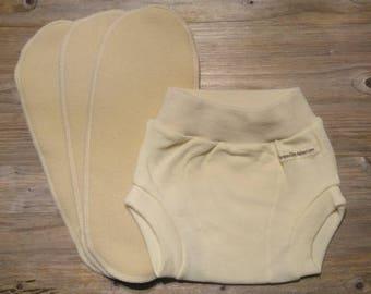 Merino wool interlock soaker / cover / with 3pc merino wool inserts