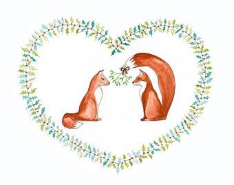 Foxes In Love, Woodland Creatures Christmas Card, print from original watercolour