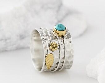 Boho Rings, Gemstone Rings, Turquoise Rings, Flower Rings, Statement Rings, Birthstone Rings, Thumb Rings, Boho Jewelry, Silver Rings JR068