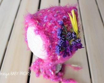 Newborn Bonnet,Hat, Baby Girl Bonnet,Newborn Prop, Newborn Photography, Baby Prop,Baby Bonnet,Pink Bonnet,Baby Girl Prop,Knit Hat,Flower Hat