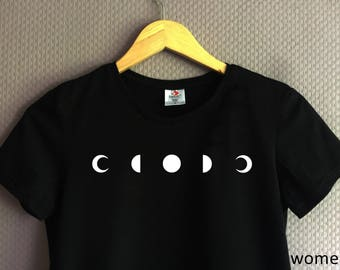 Free Shipping Handprinted T-Shirt with lunar phase /phase of the moon motive/print black/white Men/Women