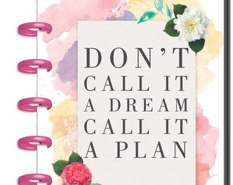 Clearance! MINI Happy Planner - Wildflower - 12 Months Undated Planner - Pink Discs/Watercolor Floral Cover