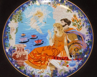 Vintage boxed collector plate by Anna Perenna, 1981.  Helen and Paris is #3 in a collection of four plates from the Romantic Loves Series.