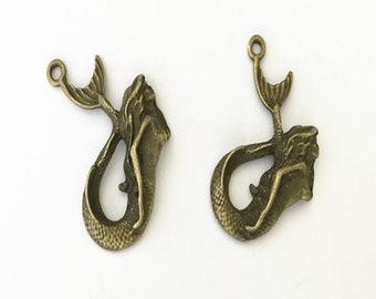 10pcs Antique bronze mermaid  pendant Charms 34mmx40mm