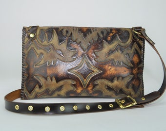 Handmade Laredo Brown Western Embossed Leather Handbag