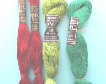 4 SKEINS of vintage cotton a broder DMC color