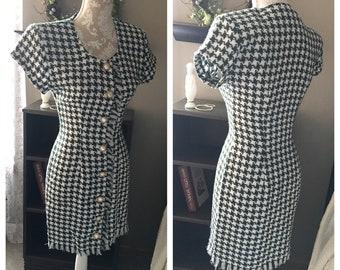La Belle Houndstooth Fringe Dress, 1980s