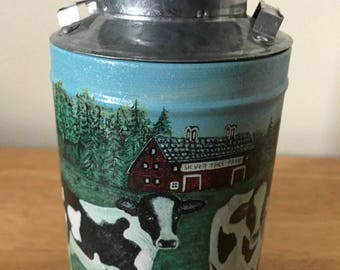 """Vintage Silver Tree Farm* Milk Can*With Pix Of Cows And Barn* 7"""" T"""