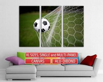 Football Soccer Ball Goal Office Decor Canvas Soccer Art multi panel art Large Print Gallery Wrapped Canvas Large Split art Wall Art Print