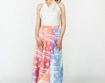 Cotton Long Skirt Coolawoola Rainbow Lace Wrap Around Waist Skirt Boho style