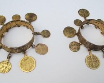 Vintage YSL Yves Saint Laurent 70s Pair of Matching Coin Bracelets Rare!