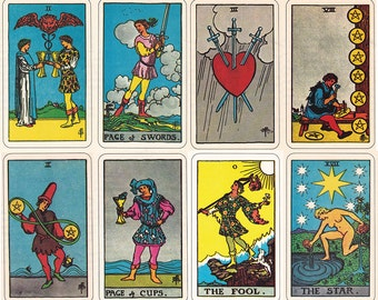 Rider Waite Smith Tarot cards, printable digital downloads of the complete set.