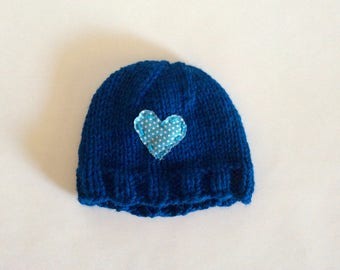 Hand Knit Child's blue hat with heart