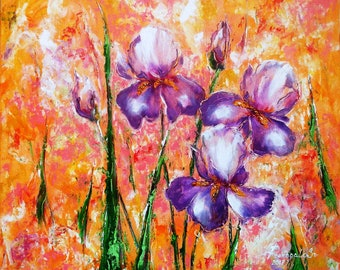 Oil painting. Irises in the morning haze. 50х60 cm.