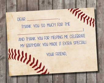 Baseball Fill In Thank You Cards