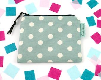 Wallet for women Small makeup zip bag Zipper pouch for tea bags Polka dot accessory pouch Teacher gift